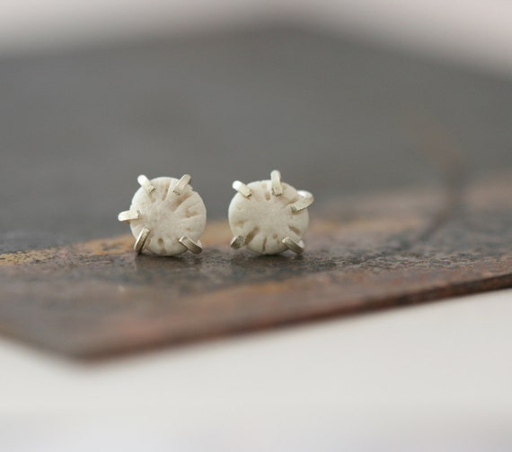 Pebble Studs - Porcelain and Sterling Silver Earrings