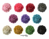 22pc deluxe set matte rose 25mm resin flower cabochons, great for making pendants, 11 colors