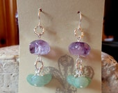 Amethyst and Aventurine Cluster Dangle Earrings on Hypoallergenic Silver Ear Wires