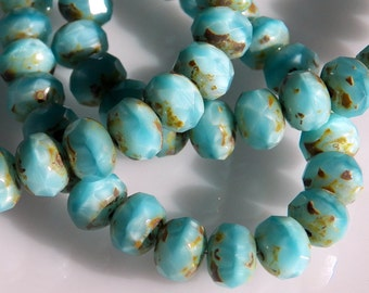 Czech Baby Blue with Picasso 8x6mm Faceted Fire Polished Glass Rondelle Beads (25) 0560-P
