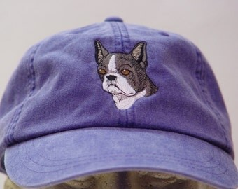 BOSTON TERRIER DOG Hat - One Embroidered Men Women Cap - Price Embroidery Apparel - 24 Color Caps Available