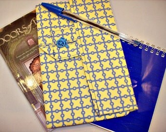 Geometric Design Personal Planner Wallet in Yellow and Blue
