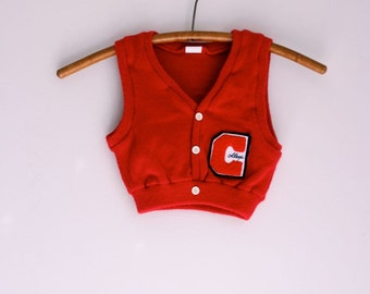 Vintage children' sweater vest college letterman