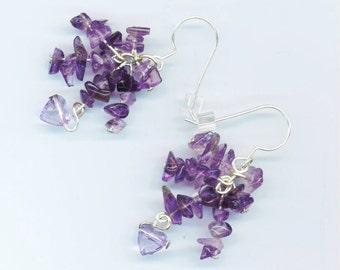 Amethyst Gemstone Earrings . Purple Amethyst Chips . Light purple Heart . Bunch Cluster . February - Amethyst Night by enchantedbeas on Etsy