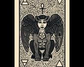 Sphinx woodcut limited edition Arcanum Bestiarum bestiary print