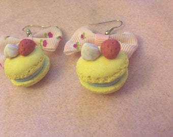 20% OFF Sweet Lolita Pastel Yellow Macaron Bow Earrings