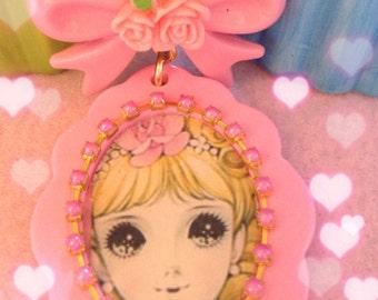 20% OFF Blonde Vintage Anime Girl Princess Pink Pendant Plastic Necklace