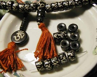 Batik Beads - Black White OM Bone Mala Bead - 10 pcs. - BTK310