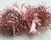 Easter Pink Soft Tinsel Garland - Soft and Sweet 40 inches Vintage Style Pink Tinsel Trim - Retro 1950s Pink Christmas