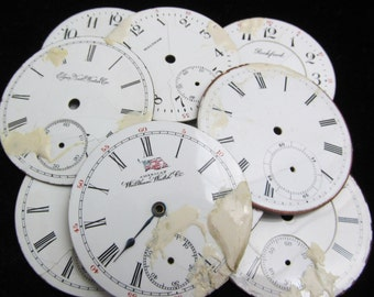 Distressed Shabby Chic  Watch Dials Steampunk Faces Enamel Porcelain BF 51