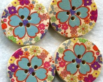 Flower Buttons Decorated Wooden Buttons Aqua Flower 30mm (1 1/4 inch) Set of 8 /BT74