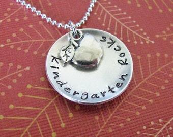 Kindergarten Rocks teacher necklace