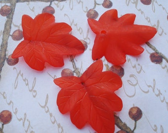 27x25mm Frosted Matte Bright Reddish Orange Lucite Foliage Leaves (3 pieces)