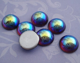 Vintage 11mm Amethyst Purple Preciosa AB Fire Polished Silver Foiled Flat Back Round Smooth Top Glass Cabs (6 pieces)