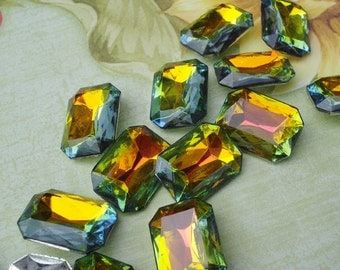 Vintage 18x13mm Vitrail Octagon/Rectangle Silver Foiled Pointed Back Faceted Glass Jewels or Cabs (2 pieces)