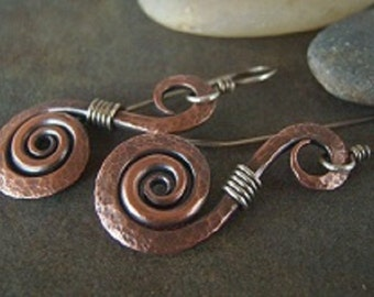 50% off Tutorial Sale-Tutorial for Rustic Hammered Swirls Earrings-PDF-Instructions.
