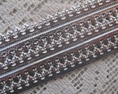 Dresden Trim Germany 5 Rows Fancy Fleur De Lis Paper Lace Silver  DFW 206 S