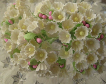 Forget Me Nots Buttercream With Pink Peps 2 Bouquets Millinery Paper Flowers