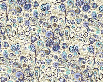 Made In Italy Authentic Florentine Paper Traditional Print Blue Art Nouveau By Rossi  R200B
