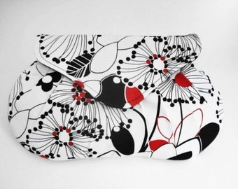 Bridesmaids Clutch, White Floral Purse, Wedding Bag, Small Handbag, Black and Red Purse