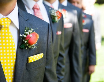 Wedding Pocket Square for Men - Yellow and White Polka Dots