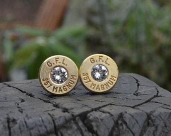 Bullet Earrings stud earrings or post earrings  Fiocchi .357 magnum earrings gold earrings bullet jewelry with Swarovski crystals for April