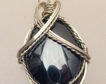 Handmade Solid Sterling Silver Wire Wrapped Vintage Hematite Pendant