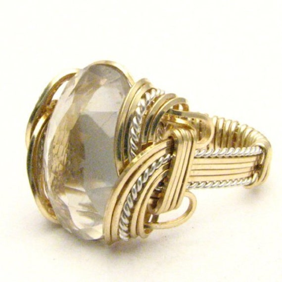 Handmade Wire Wrap Diamond Quartz Gemstone Two Tone Sterling Silver/14kt Gold Filled Artisan Ring