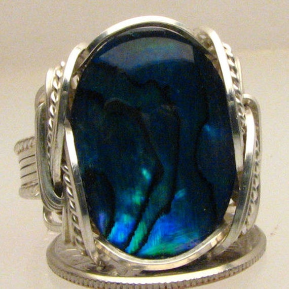 Handmade Sterling Silver Wire Wrap Blue Paua Shell Ring