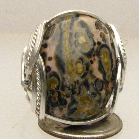 Handmade Sterling Silver Leopard Skin Agate Ring