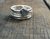 Sterling Stacking Rings - Set of 4 hammered and 1 wide hammered with round Grey Moonstone
