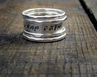 Sterling Stacking Rings -  Set of 4 hammered and 1 wide with custom stamped word - MADE TO ORDER