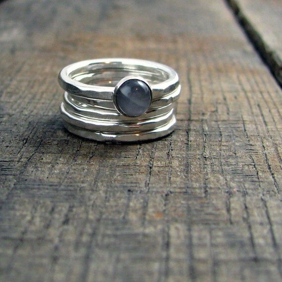 Sterling Stacking Rings - Set of 4 hammered and 1 wide hammered with round Grey Moonstone - MADE TO ORDER