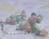 Beryl Station Necklace, Pink Stone Necklace, Green Stone Necklace, Precious Stone Necklace, Professional Woman Necklace, Extra long Necklace