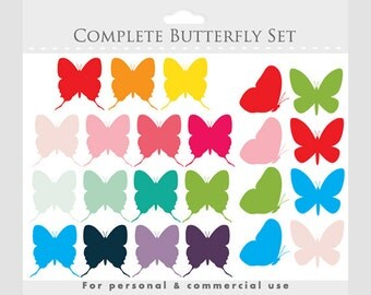 Butterfly clipart - butterflies clip art, spring, insects, wings, complete set, pink, green, red, blue, for personal and commercial use