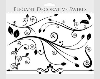 Decorative flourish clipart - flourishes clip art, swirls, elegant, ornate, borders, for collage and scrapbooking, commercial use