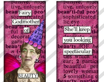 Digital collage sheet  1 X 2 inch  Domino Slides  Fairy Godmother's   (Sheet no. FS189) Funny-Instant Download