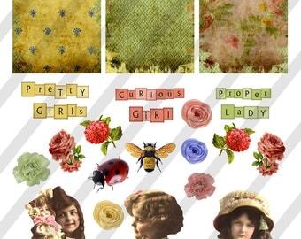Digital Collage Sheet Vintage Girl Images Postcard Images (Sheet no. O149) instant Download