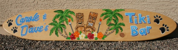 surfboard wall art tiki bar sign personalized tropical