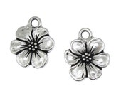 TierraCast APPLE BLOSSOM Charm - Antique Silver Charm - Flower Charm Tierra Cast Pewter Floral Flower Spring Supplies (P1132)