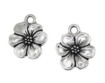 TierraCast APPLE BLOSSOM Charm - Antique Silver Charm - Flower Charm Tierra Cast Pewter Floral Flower Spring Supplies (P1132)
