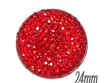 24mm round and sparkly cabochon in ruby red