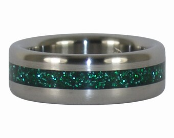 Green Metallic Flake Titanium Ring for Christmas