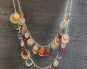 Silver Paper Necklace with Neon Orange and Pink