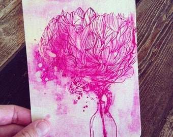 Painted Peony wooden postcard