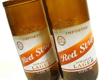 Set of Two Recycled Red Stripe Beer Bottle Drinking Glass Cups
