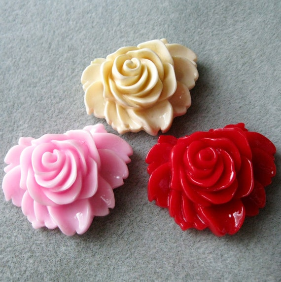 Acrylic Lucite Rose Flower Cabochons 43mm x 35mm Choose Your Colors 914