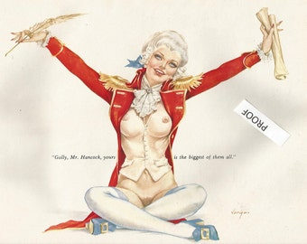 RARE  Vargas 70's Last Editions George Washington Playboy Pin Up Political Red White Blue Picture