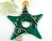 Emerald Green Fused Glass Star Suncatcher