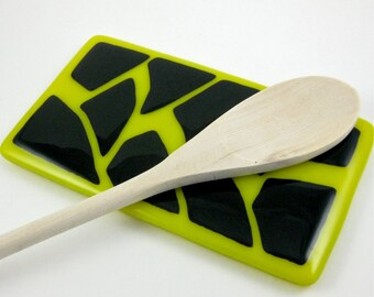 Black and Yellow Fused Glass Spoon Rest